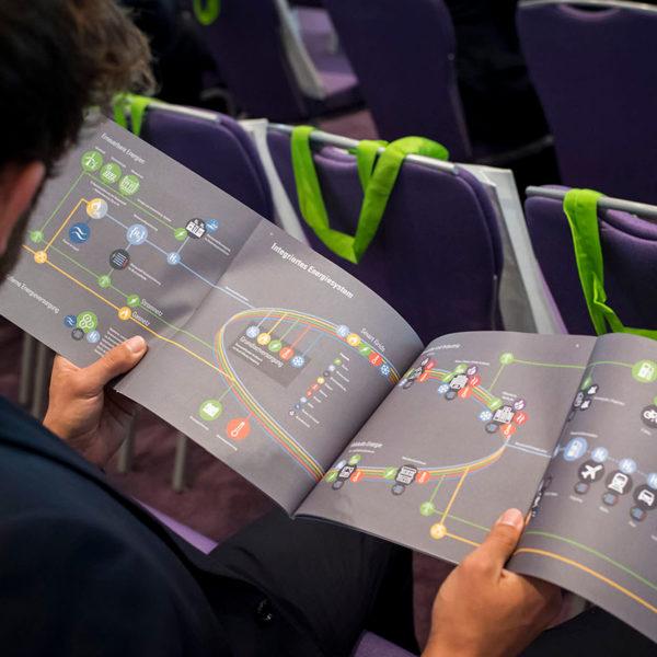 Person schaut sich Grafik zum Integrierten Energiesystem an