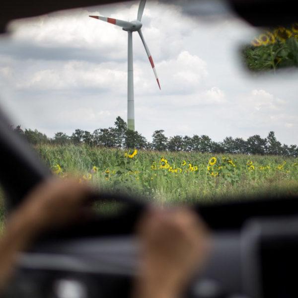 Blick durch Windschutzscheibe auf Windrad und Wiese
