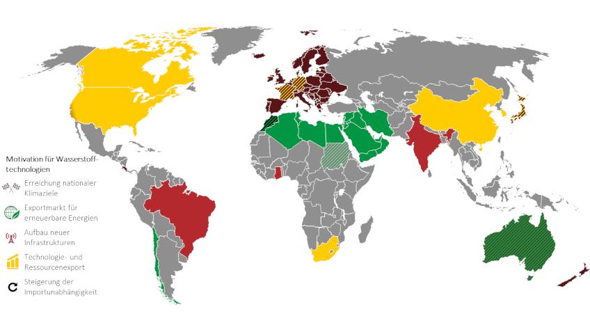 Weltkarte mit farbig markierten Ländern, die die Motivationen Motivationen für Wasserstofftechnologien weltweit darstellen