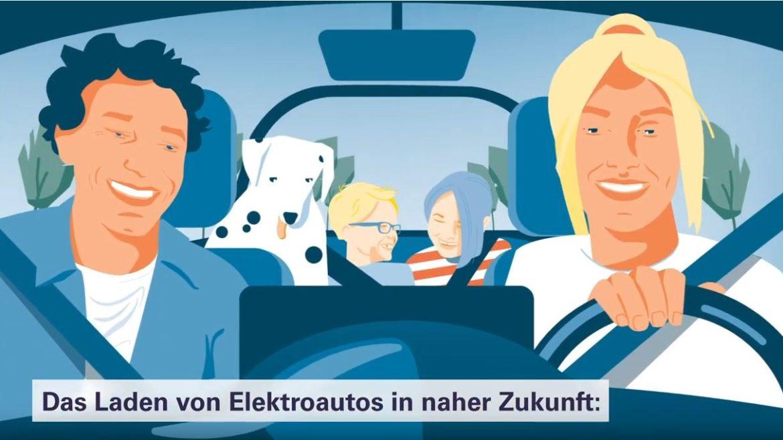 Familie im Auto mit Hund - darunter eingeblendet der Text
