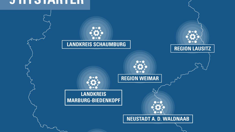 Karte zeigt HyStarter-Regionen