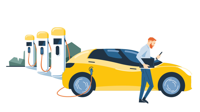 Auto an Ladeinfrastruktur angeschlossen