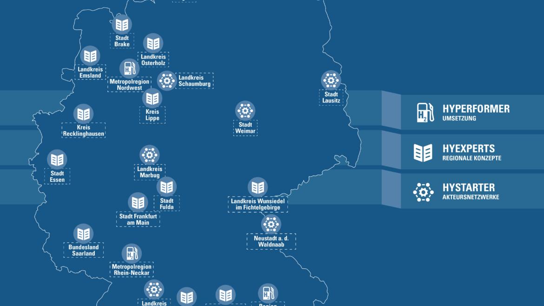 Karte zeigt die Standorte der HyLand-Gewinnerregionen